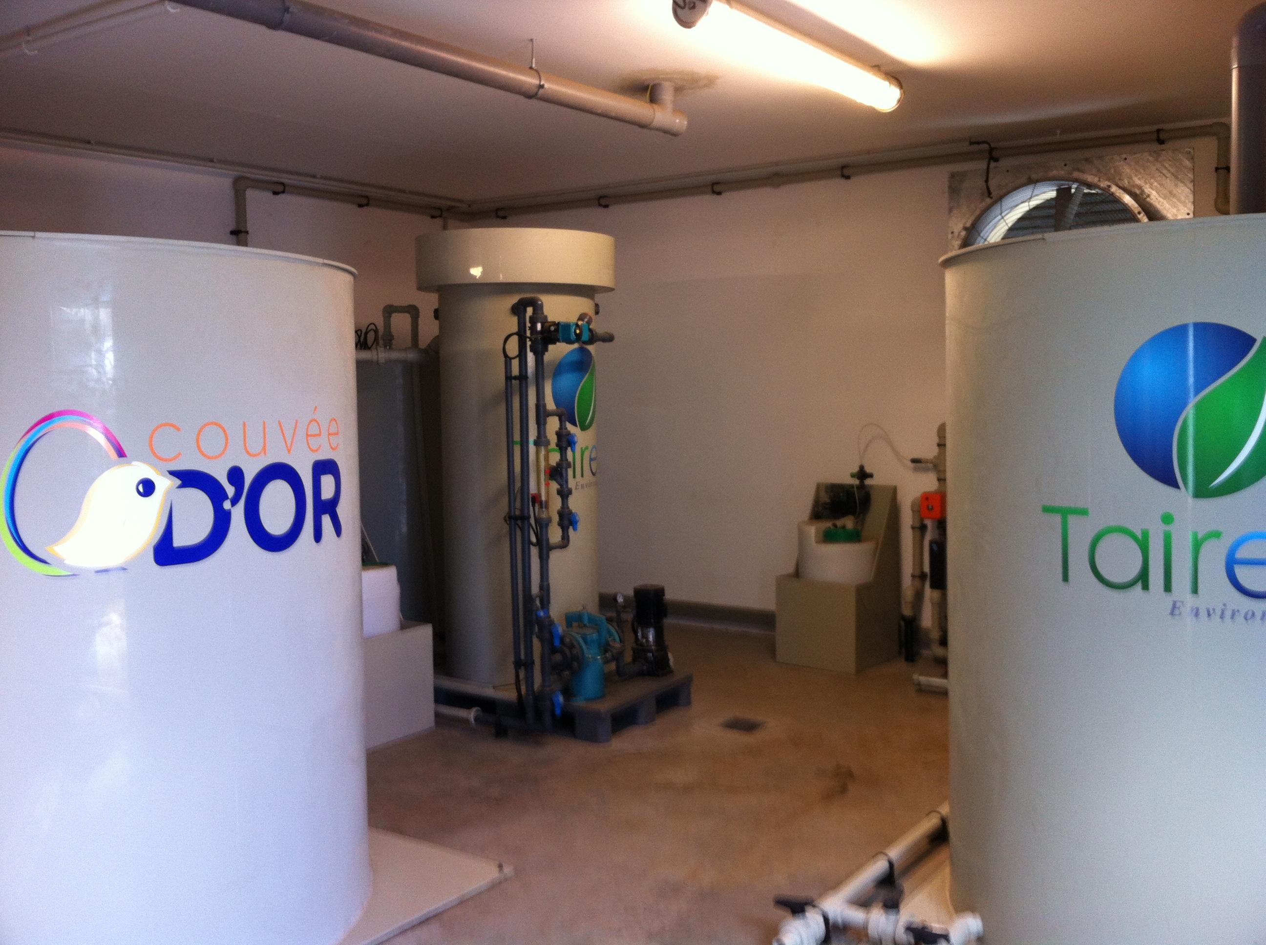 Bioréacteur à lit fixe + recyclage des eaux + eaux de pluie + dosage H2O2